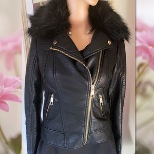 GUESS FUR TRIMMED MOTORCYCLE JACKET XS